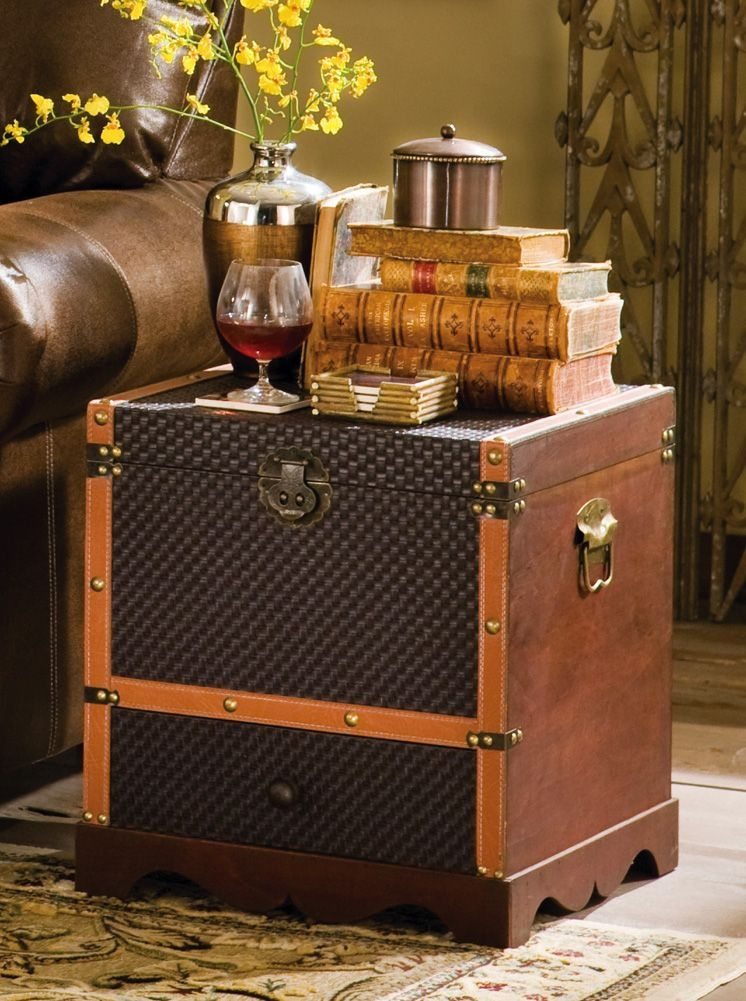 A Stunning End Table, Which Is Also A Storage Trunk. It Has The Character  Of The Old Times Due To Brown Leather Upholstery And Old Fashioned Straps.
