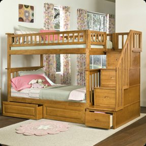 Twin over full bunk bed with staircase 16