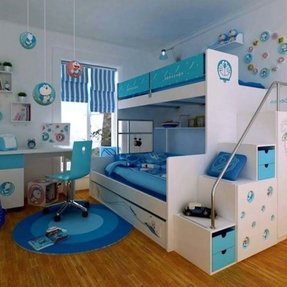 Twin over full bunk bed with staircase