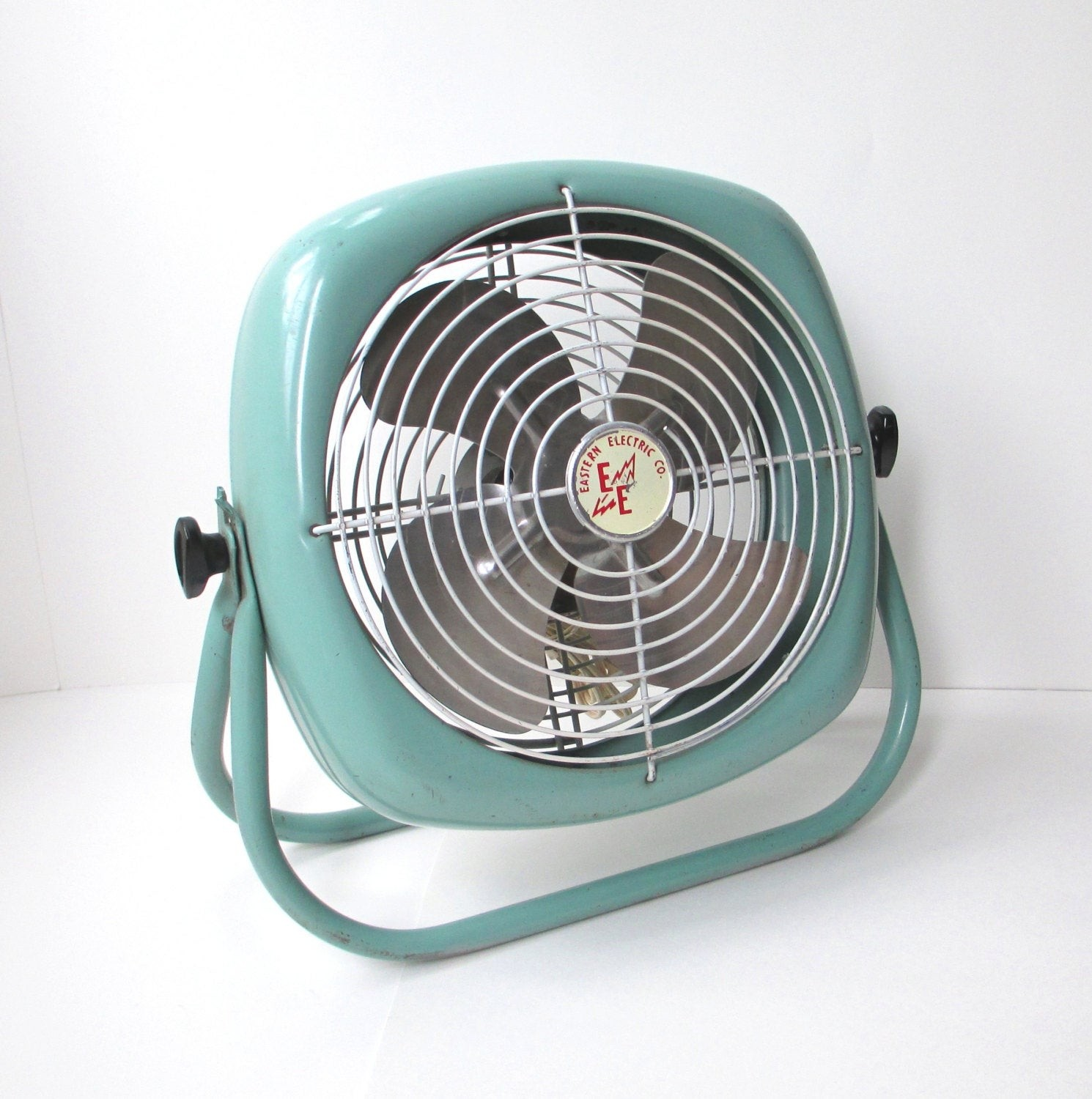 Vintage Industrial Turquoise Electric Box Floor Fan By The Vintage Resource Modern Accessories And Decor