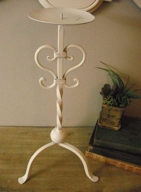 Vintage tall wrought iron candle stand