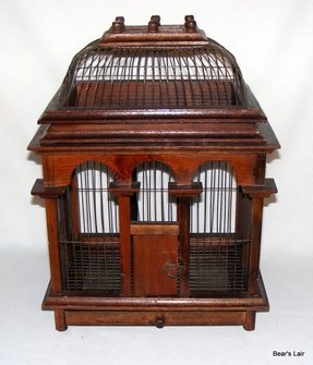Vintage wire wood bird cage with dome opening top