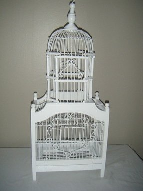 Wooden metal bird cage white vintage victorian style dome top