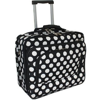 World traveler white dot fashion print womens rolling 17 inch