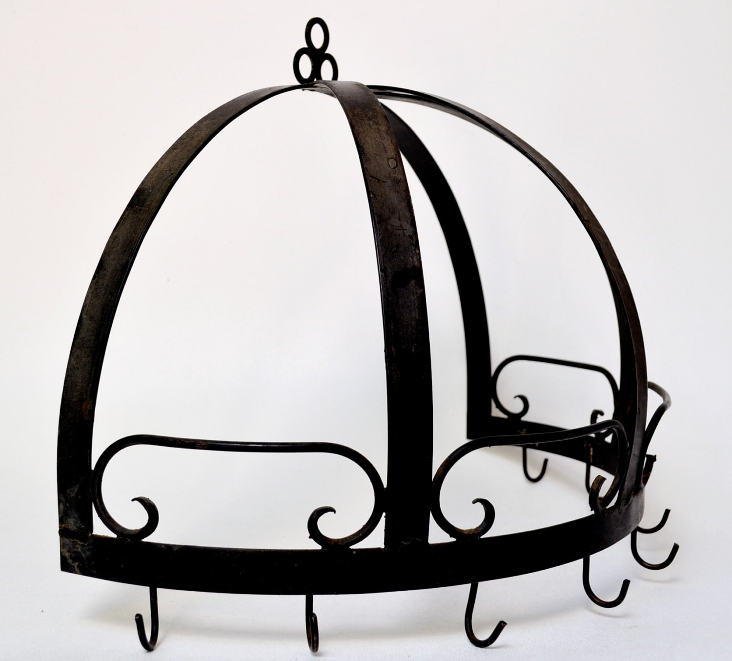 Wrought iron half dome pot rack wall