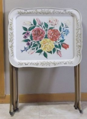3 Vintage Metal Folding Tv Trays Toile Cottage Roses Fl