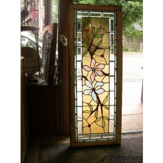 Antique 1890s victorian stained beveled glass window transom side light