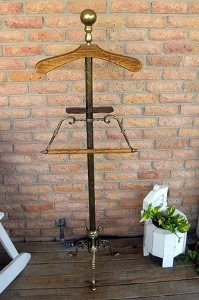 Antique brass and wood floor stand