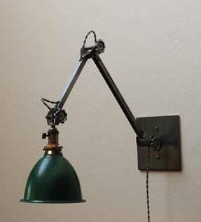 Antique cast iron wood pulley lamp