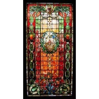 Antique large period stained glass leaded window possibly tiffany studios