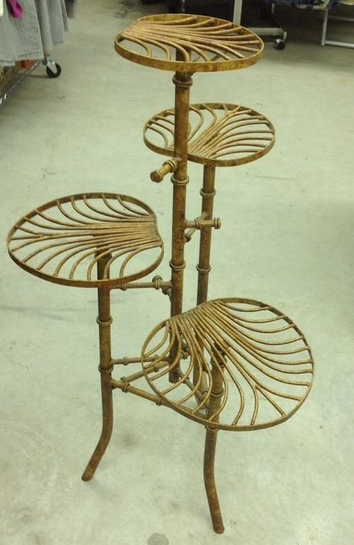 Antique vintage faux bamboo iron multi tier plant stand
