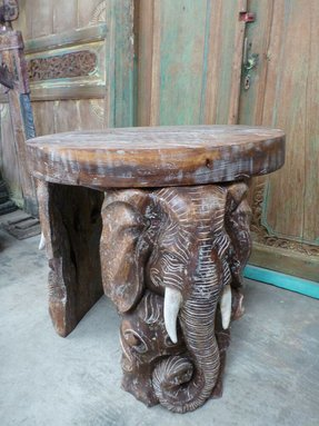 Balinese hand carved elephant coffee side table unique saur wood