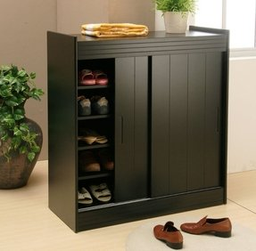 Black Shoe Storage Cabinet