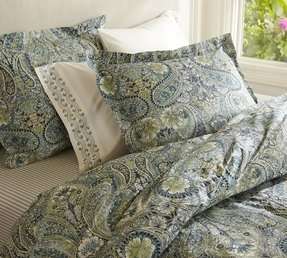 Blue and brown paisley bedding