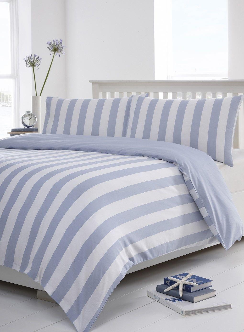 Delightful Blue Henley Stripe Bedding Set