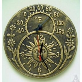 Brown Terra Cotta Outdoor Wall Clock with Thermometer