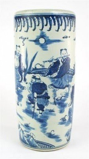 Chinese antique blue white porcelain umbrella stand 19 vase nice