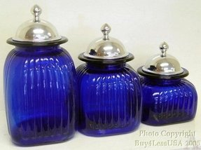 cobalt blue kitchen canisters glass kitchen canister sets foter 16744