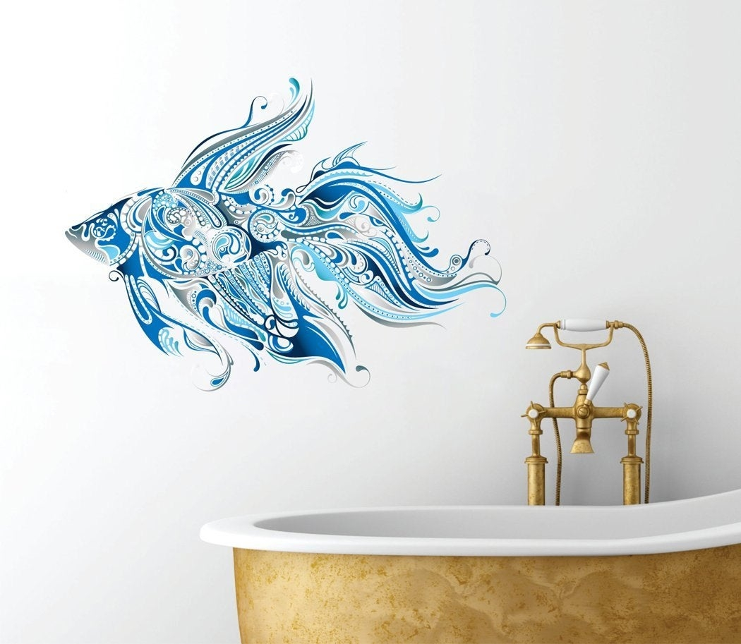 Fancy Fish Design   Beautiful Ocean Inspired   Bathroom Wall Decal