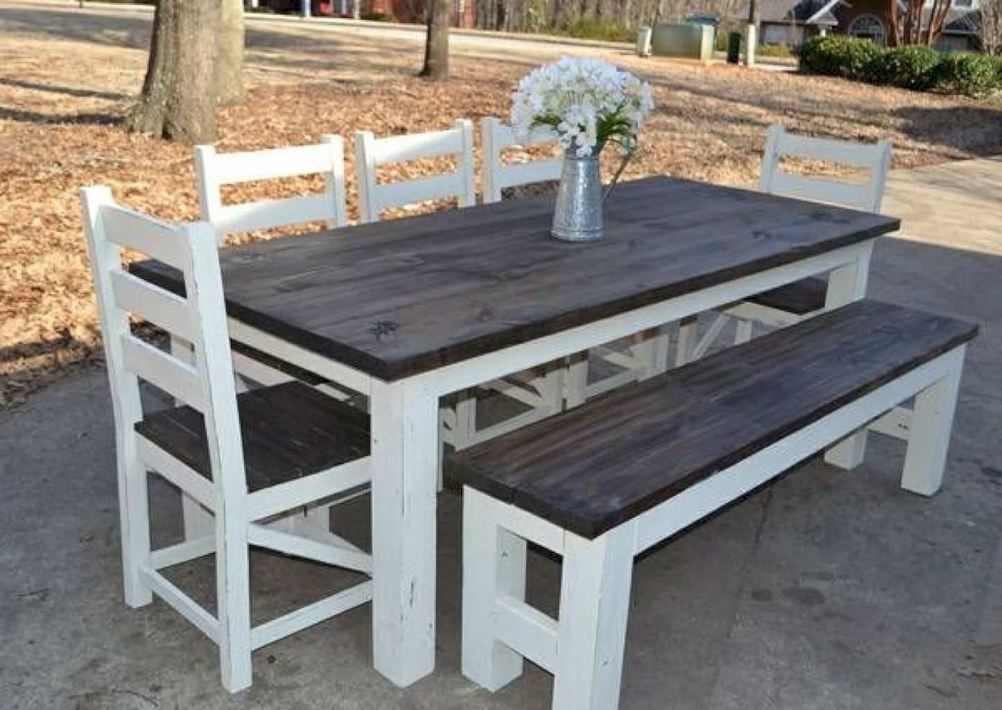 Delightful Farmhouse Table And Bench Set 1