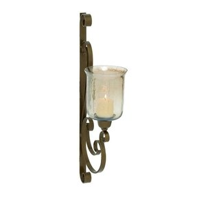 Gorgeous Indian Metal Glass Wall Candle Sconce