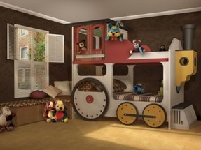 Kids train bed