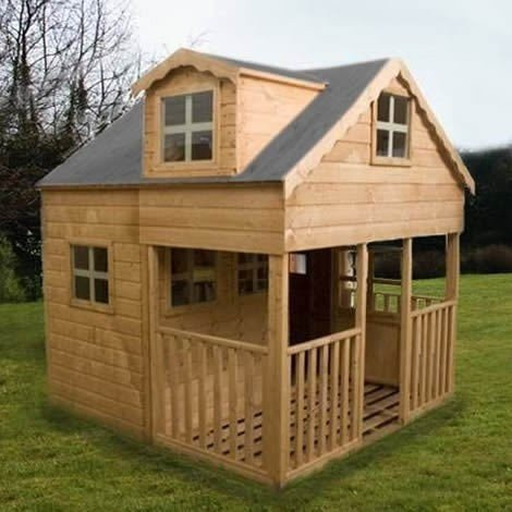 Large 2 Storey Playhouse Dorma Windows Front End Veranda Kids Garden House