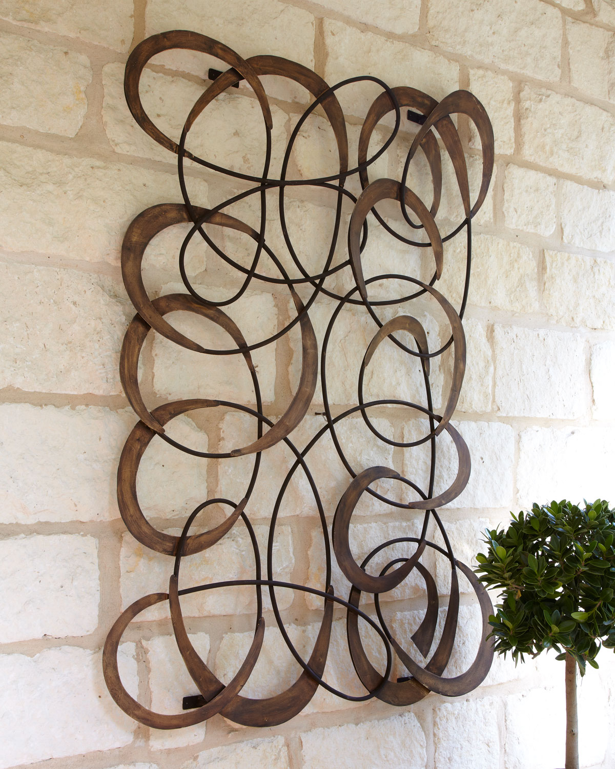 Large Indoor Outdoor MINGLING CIRCLES Wall Art Decor Plaque Patio Garden  Metal