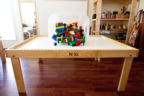 Lego activity table with storage drawer