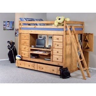 Loft bed with desk and trundle
