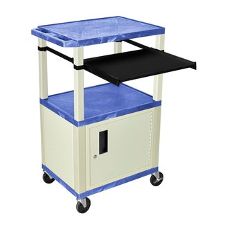 "Offex Steel Adjustable Height Av Cart Wth Storage Cabinet and Pull Out Laptop Tray- 18""d X 24""w Shelves Purple"