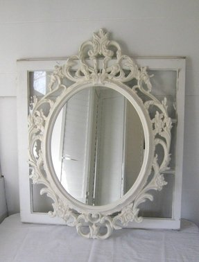 Ornate antique white oval mirror antique