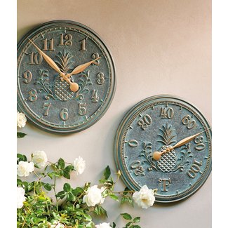 outdoor clock and thermometer set - Outdoor Clock Thermometer