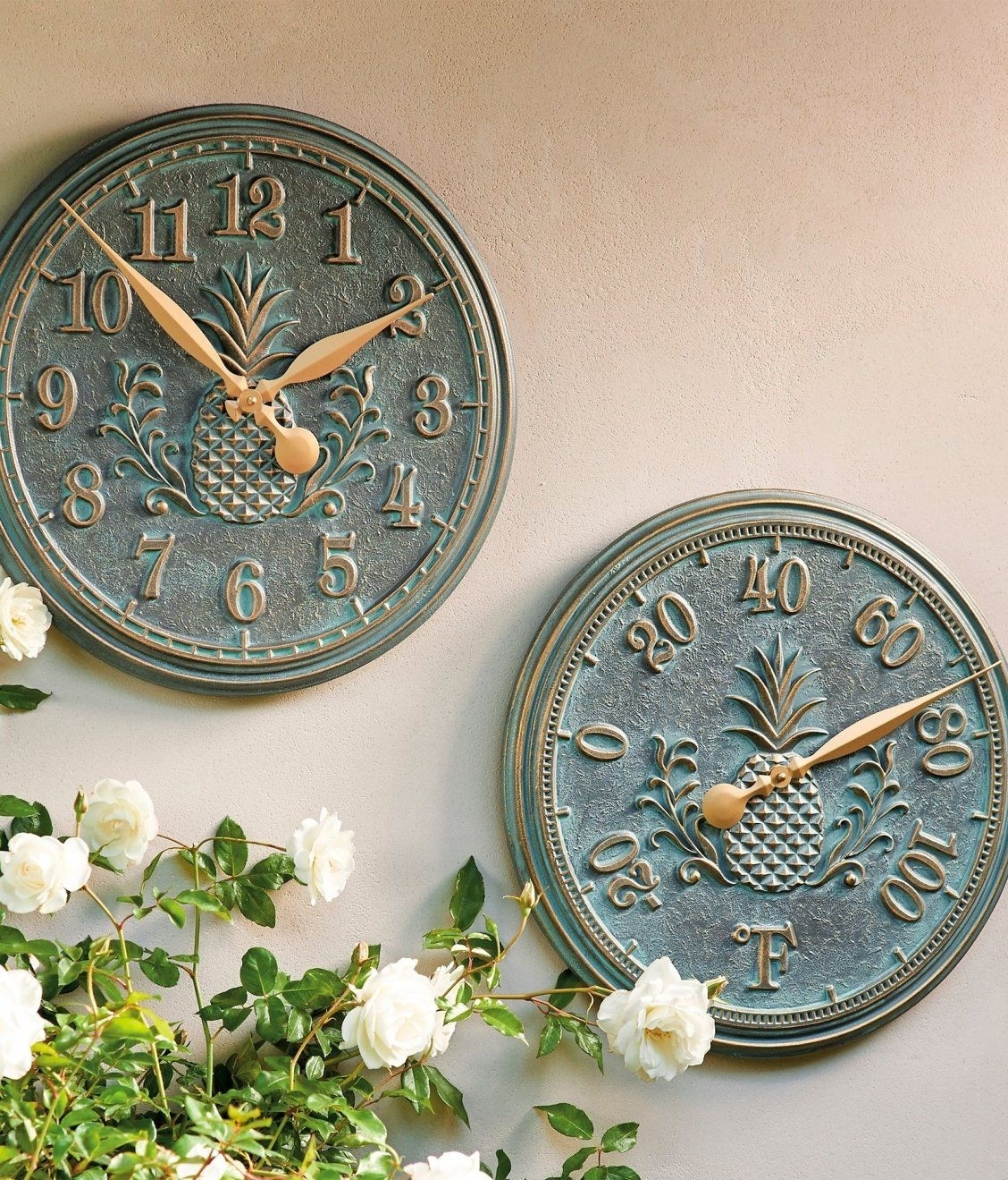 Delightful Outdoor Clock And Thermometer Set