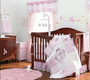 Pink and gray rosa crib bedding