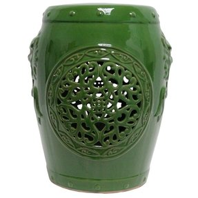 Pretty green garden stool with cut out pattern free shipping
