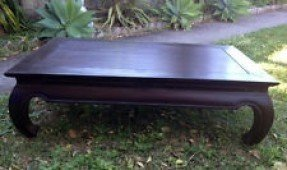 Reduced brand new balinese mahogany opium leg coffee table