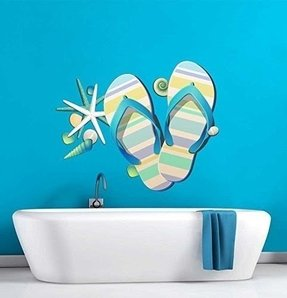 Tropical Retreat Relax Beach Flip Flops Wall Decal