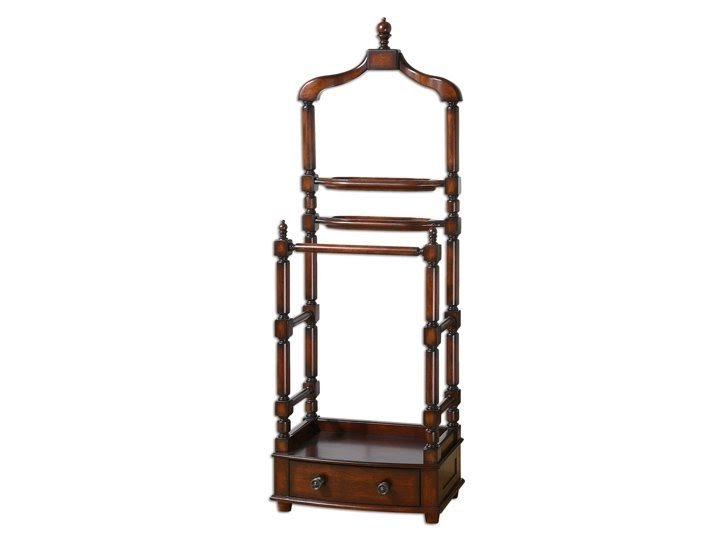 Tuscan valet stand rack dovetailed drawer antique brass drawer pulls