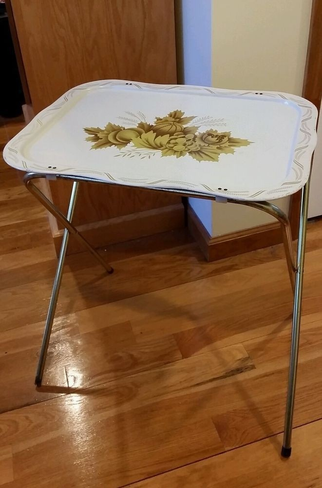 Upcycle Vintage Folding Tv Tray Metal White Gold W Stand