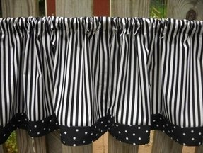 Valance curtains black and white stripe