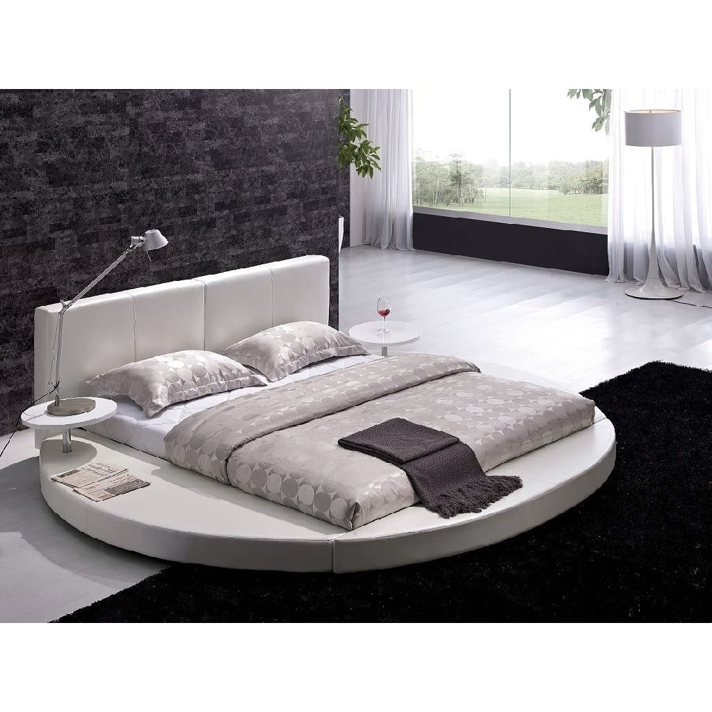 Vilenno king size modern style round leather platform bed white