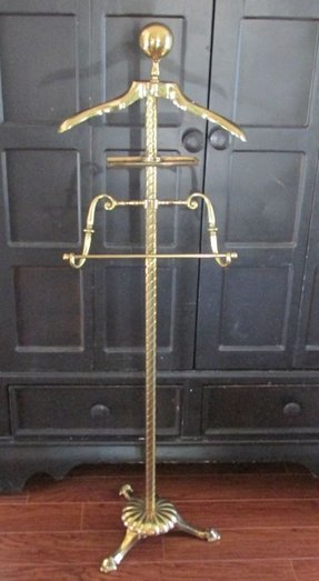 Vintage brass valet stand dunhill suit pants clothes rack butler