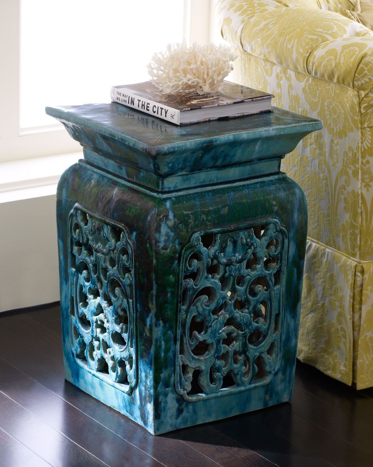 Vintage Garden Stool Handmade Vintage Ceramic Garden Stool With Intricate