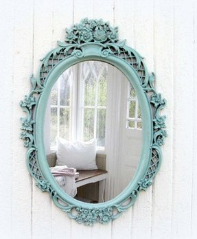 Vintage mint oval mirror shabby chic