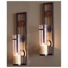 Wall pillar candle sconce set modern abstract contemporary design metal