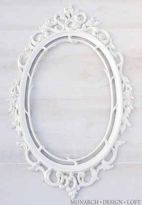 White oval frame baroque ornate frame
