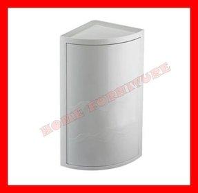 White Plastic Bathroom Corner Wall Cabinet Single Door