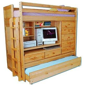 Wood loft bed with desk and trundle