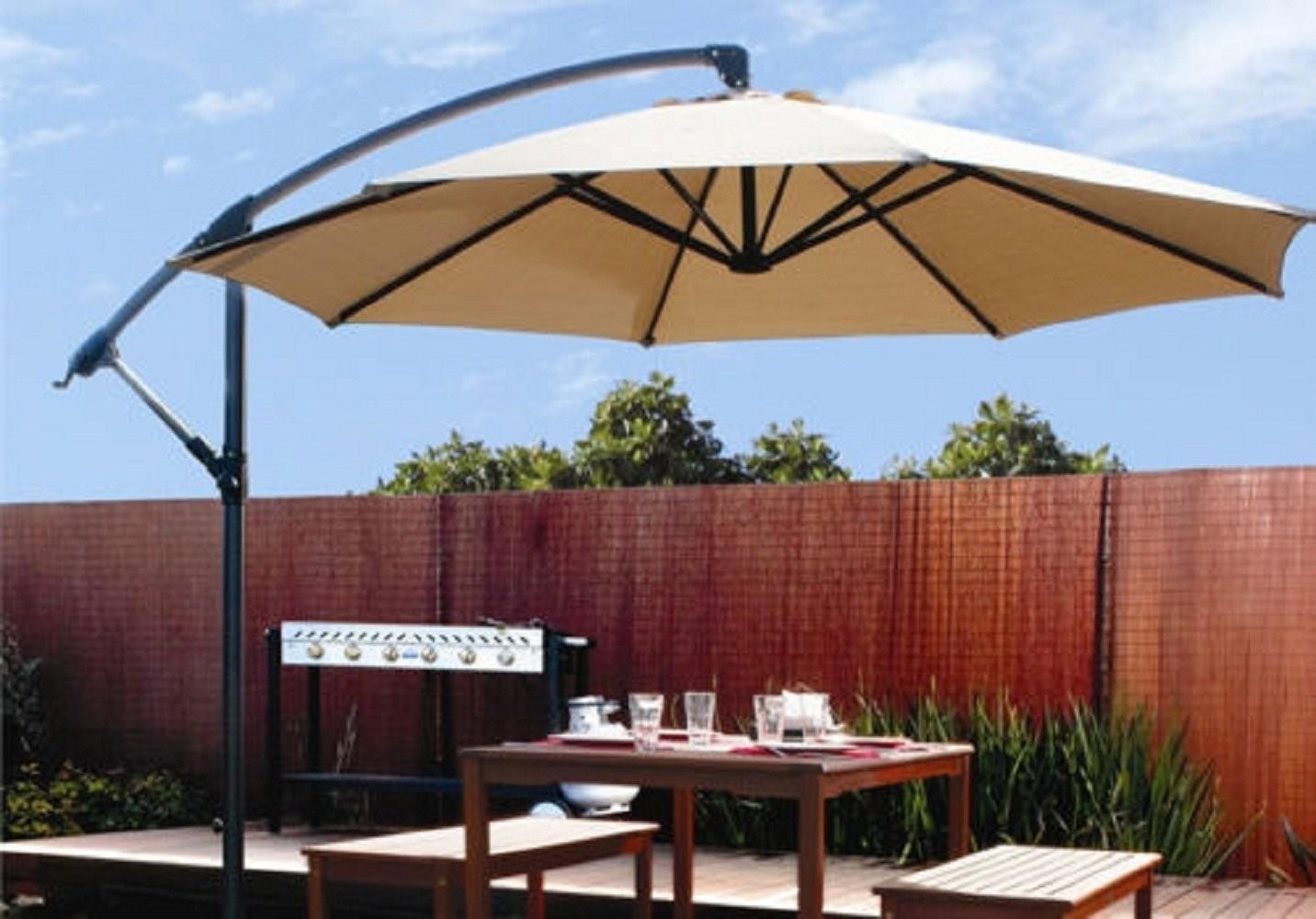 [10ft] Out Door Deck Patio Umbrella Off Set Tilt Cantilever Hanging Canopy  Tan